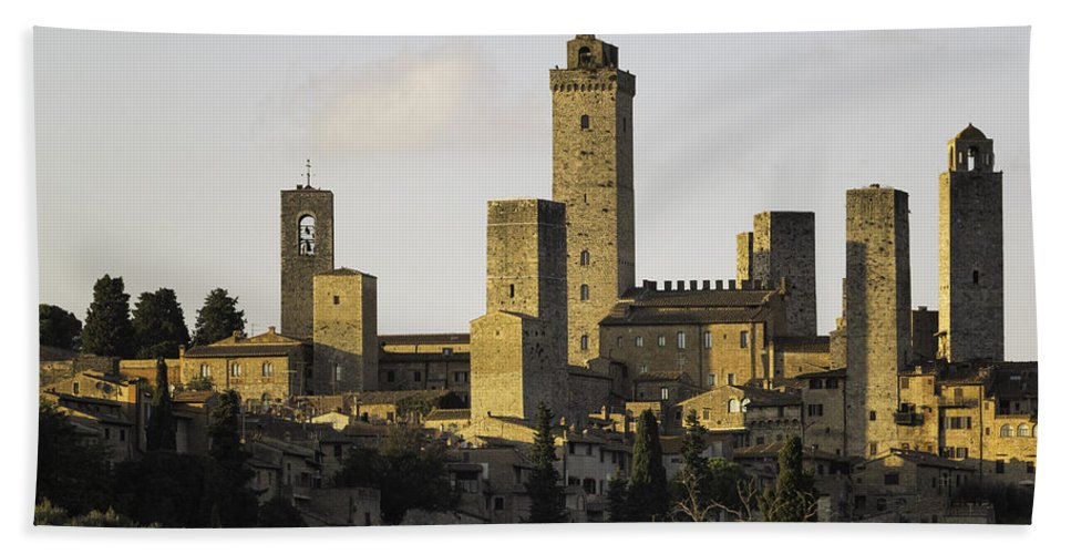 Towers Bath Sheet featuring the photograph Towers Of San Gimignano by Fran Gallogly