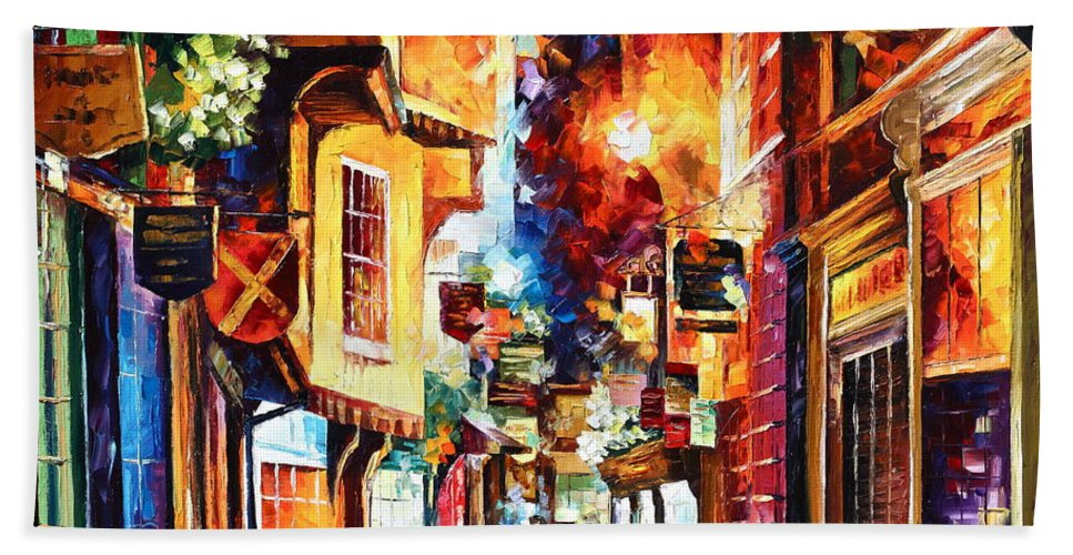 Afremov Bath Sheet featuring the painting Town In England by Leonid Afremov