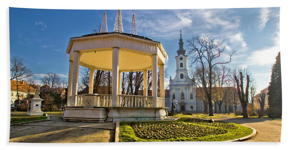 Bjelovar Hand Towel featuring the photograph Town Of Bjelovar Central Park by Brch Photography