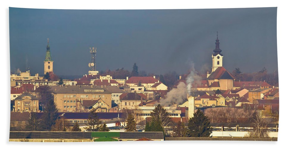 Croatia Hand Towel featuring the photograph Town Of Bjelovar Winter Skyline by Brch Photography