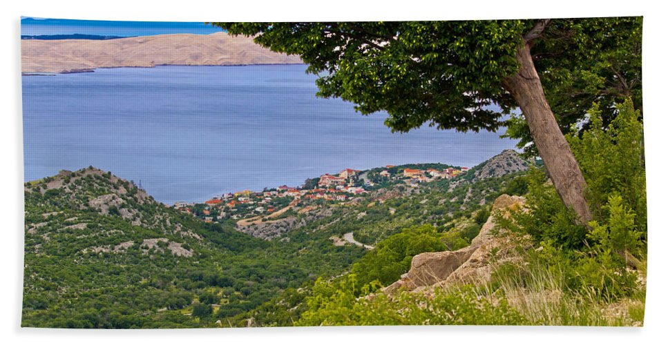 Croatia Hand Towel featuring the photograph Town Of Karlobag And Island Of Pag by Brch Photography