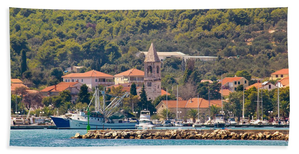 Croatia Hand Towel featuring the photograph Town Of Kukljica On Ugljan Island by Brch Photography