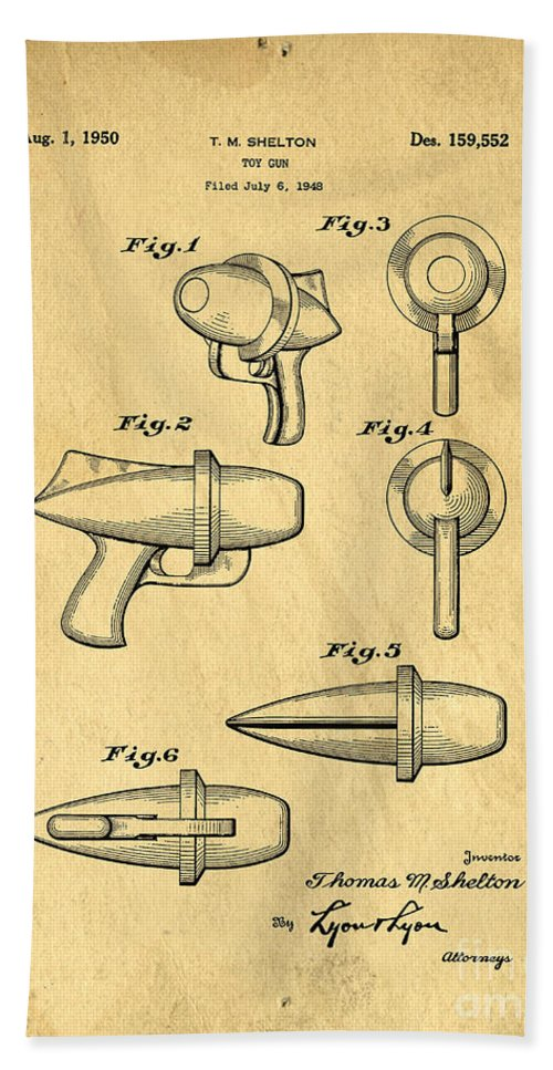 Gun Bath Sheet featuring the photograph Toy Ray Gun Patent by Edward Fielding