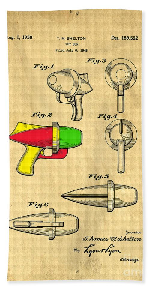 Toy Hand Towel featuring the digital art Toy Ray Gun Patent II by Edward Fielding