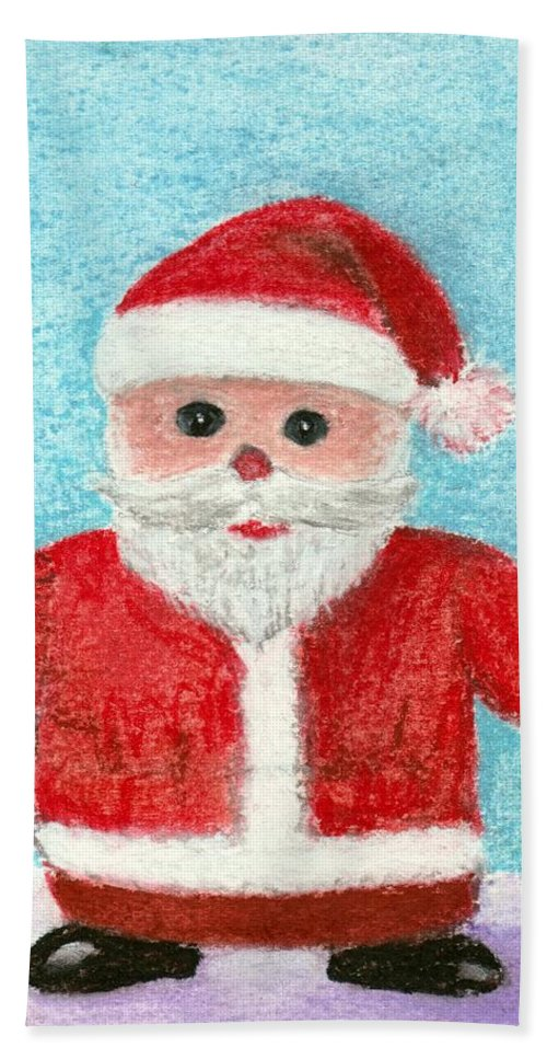 New Year Hand Towel featuring the painting Toy Santa by Anastasiya Malakhova