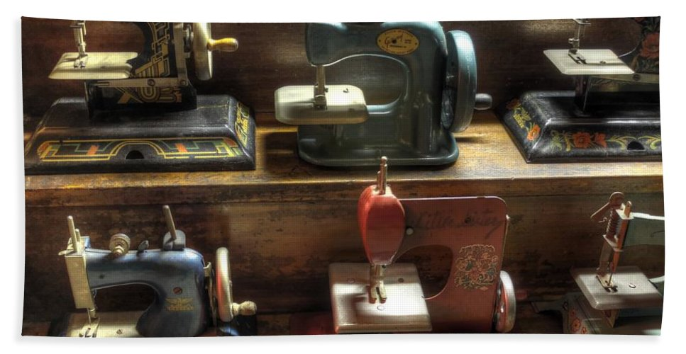 Sew Hand Towel featuring the photograph Toy Sewing Machines by Jane Linders