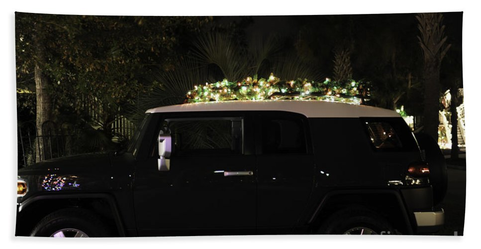 Toyota Hand Towel featuring the photograph Toyota Fj Christmas Lights by Dale Powell