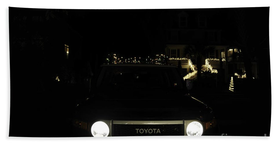 Toyota Hand Towel featuring the photograph Toyota Fj Holiday Lights by Dale Powell