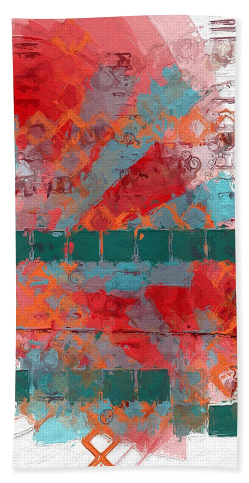 Square Bath Sheet featuring the painting Tracks In Time by Sandy MacGowan