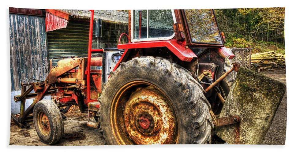 Tractor Hand Towel featuring the photograph Tractor by Svetlana Sewell