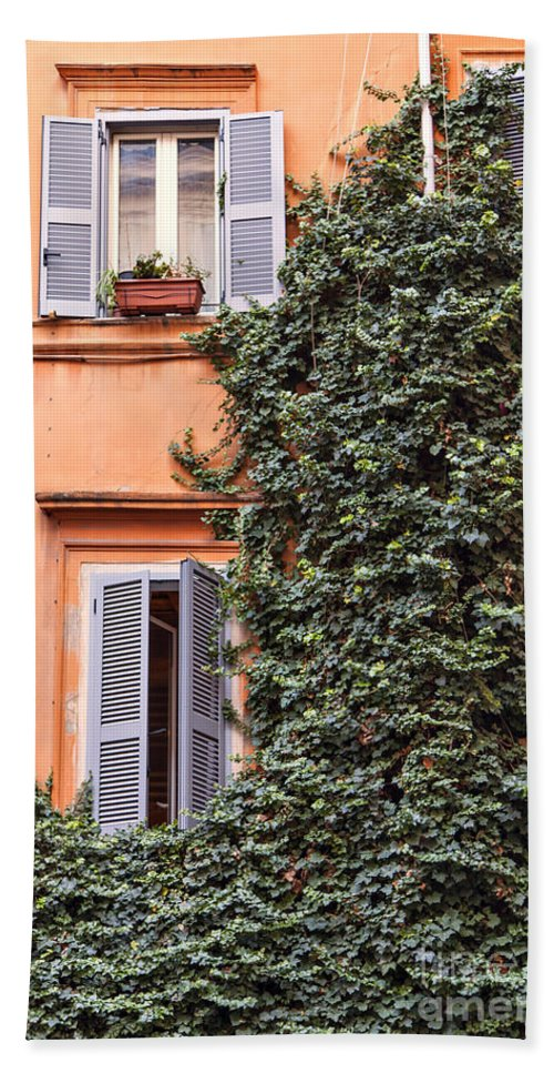 Shutters Bath Sheet featuring the photograph Traditional House Rome Italy by Sophie McAulay