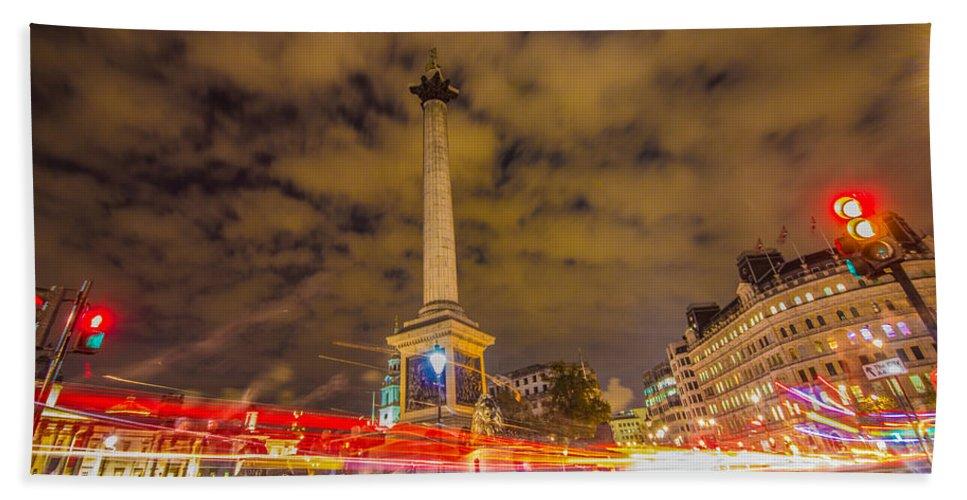 London Hand Towel featuring the photograph Trafalgar Light Trails by Dawn OConnor