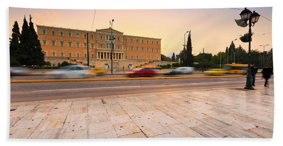 Traffic Bath Sheet featuring the photograph traffic at Syntagma by Milan Gonda