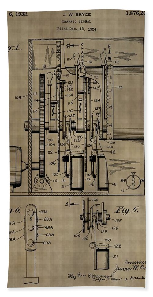 Traffic Signal Patent Bath Sheet featuring the mixed media Traffic Signal Patent by Dan Sproul