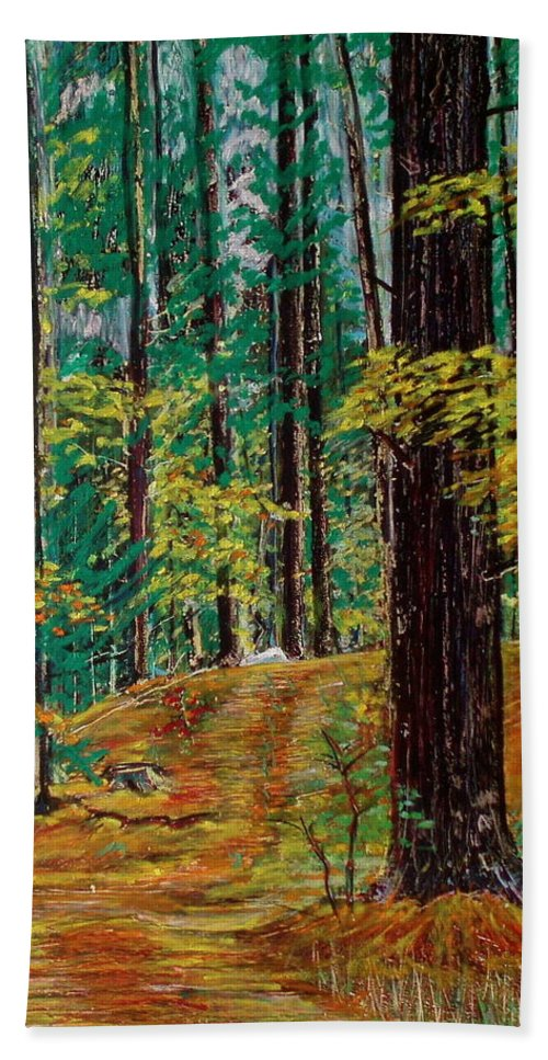 New Hampshire Hand Towel featuring the pastel Trail At Wason Pond by Sean Connolly