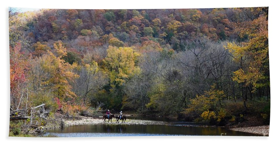 Horses Hand Towel featuring the photograph Trail Riding by Deanna Cagle