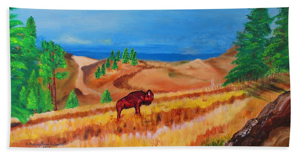 Art Bath Sheet featuring the painting Monarch Of The Plains by Ashley Goforth