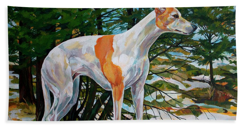 Whippet Bath Towel featuring the painting Trailblazer by Derrick Higgins