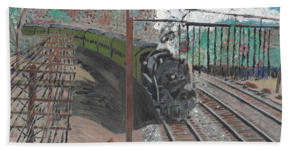 Train Hand Towel featuring the painting Train 641 by Cliff Wilson