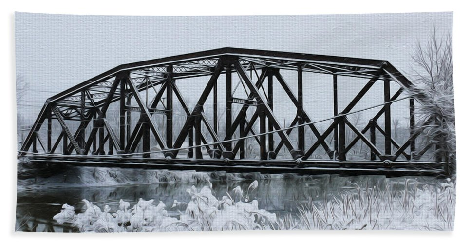 Train Bridge Hand Towel featuring the photograph Train Bridge Over The Genesee River by Tracy Winter