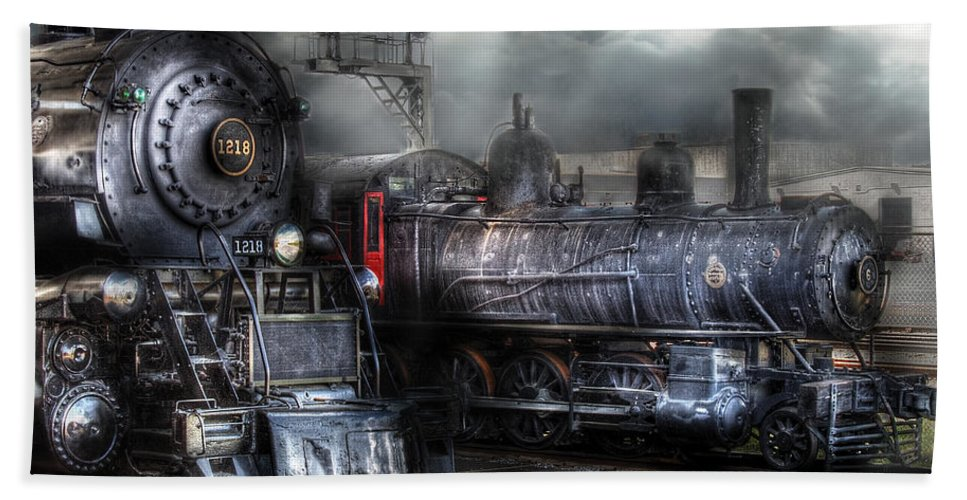 Savad Bath Sheet featuring the photograph Train - Engine - 1218 - Waiting For Departure by Mike Savad