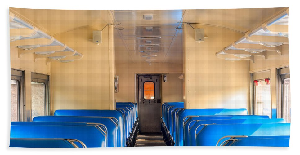 Seats Bath Sheet featuring the photograph Train Seats by Kenneth Sponsler