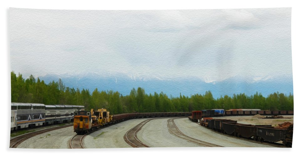 Alaska Hand Towel featuring the photograph Train Tracks by Tracy Winter