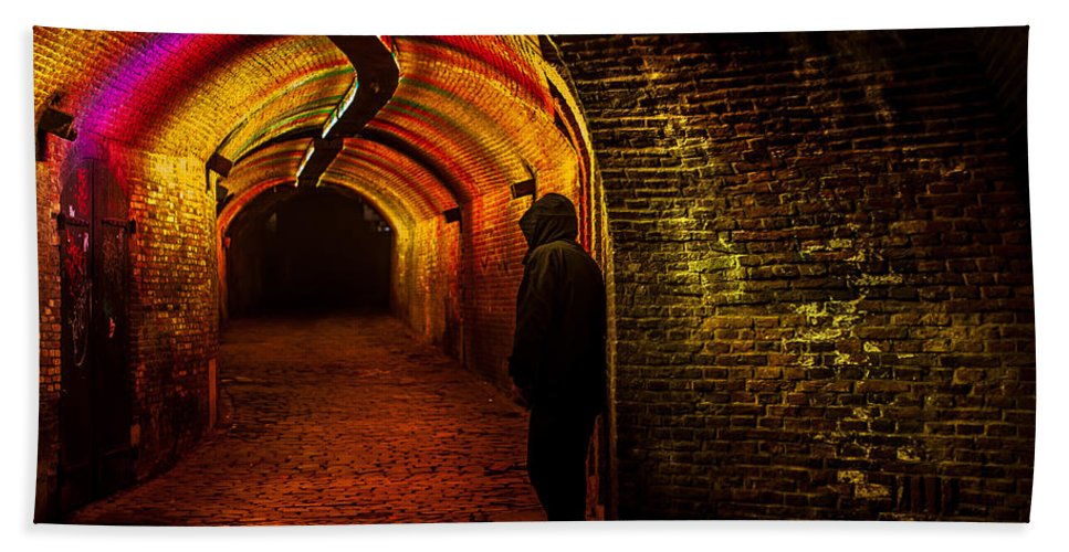 Netherlands Hand Towel featuring the photograph Trajectum Lumen Project. Ganzenmarkt Tunnel 9. Netherlands by Jenny Rainbow