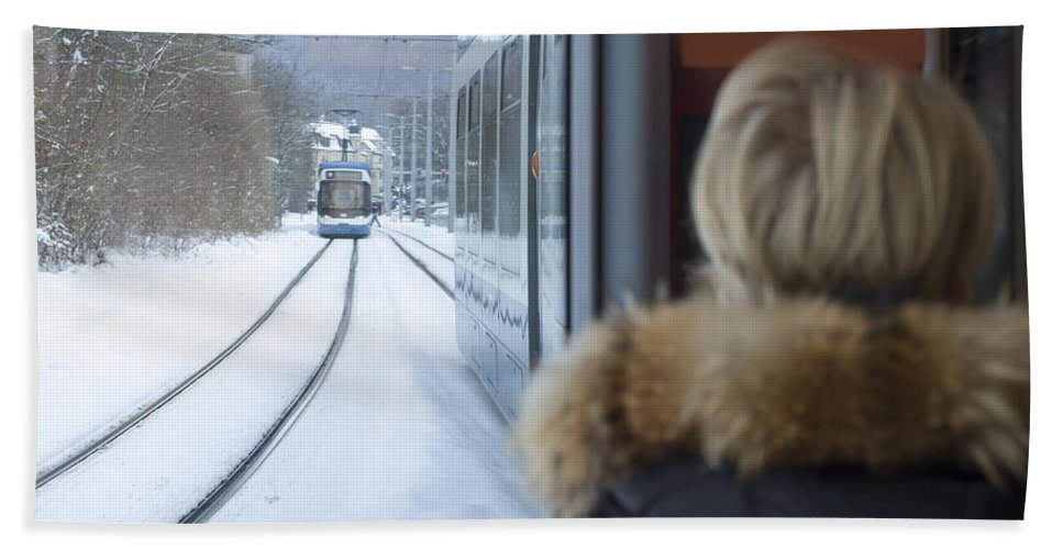 Tram Hand Towel featuring the photograph Tram In Winter by Mats Silvan