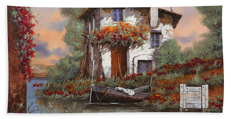 Bouganville Hand Towel featuring the painting Tramonto Sul Lago by Guido Borelli