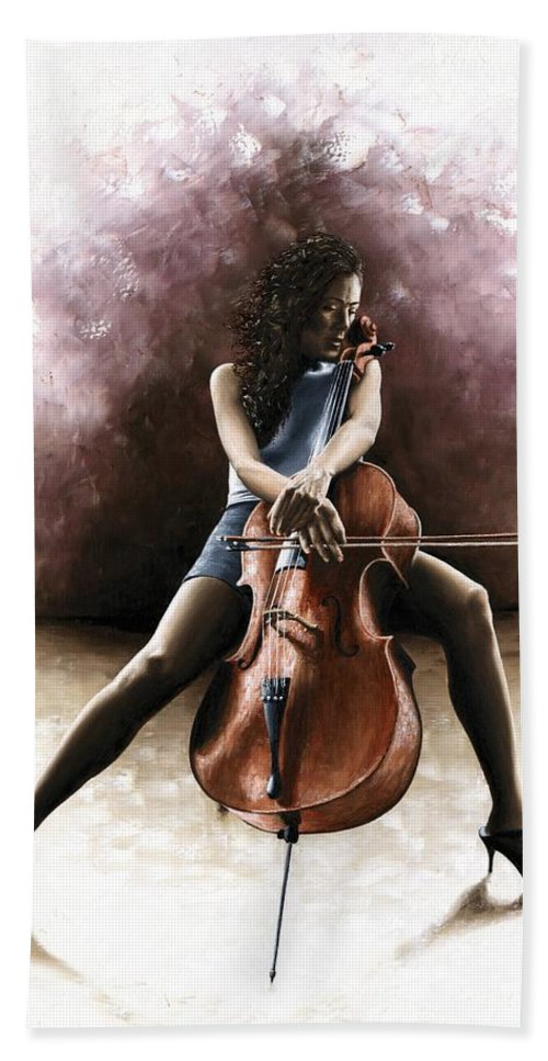 Musician Bath Sheet featuring the painting Tranquil Cellist by Richard Young