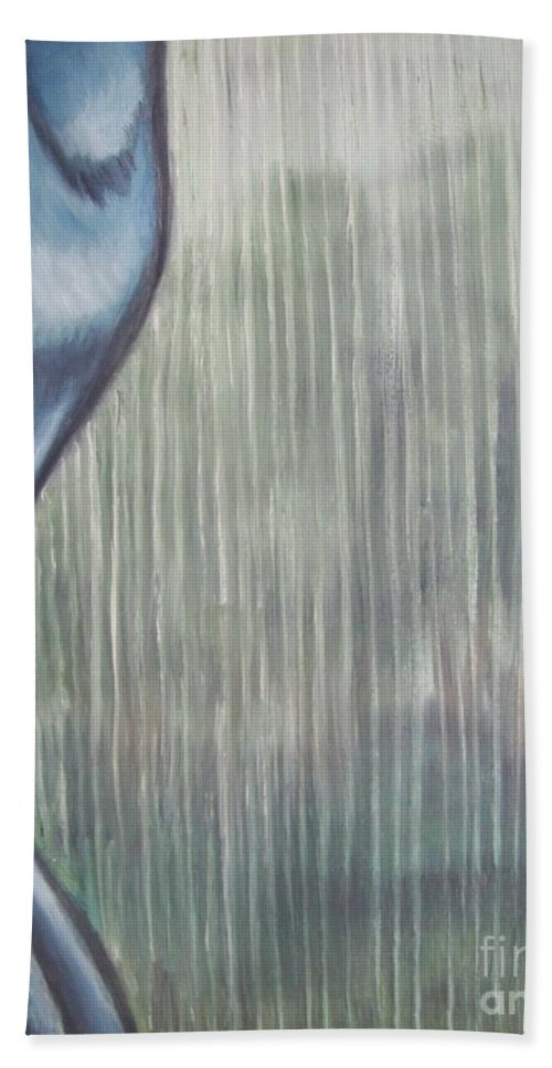 Tmad Bath Sheet featuring the painting Tranquil Rain by Michael TMAD Finney