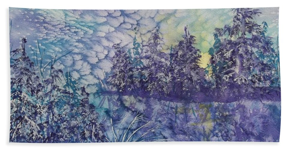 Frosty Winter Mornin Bath Sheet featuring the painting Tranquility by Ellen Levinson