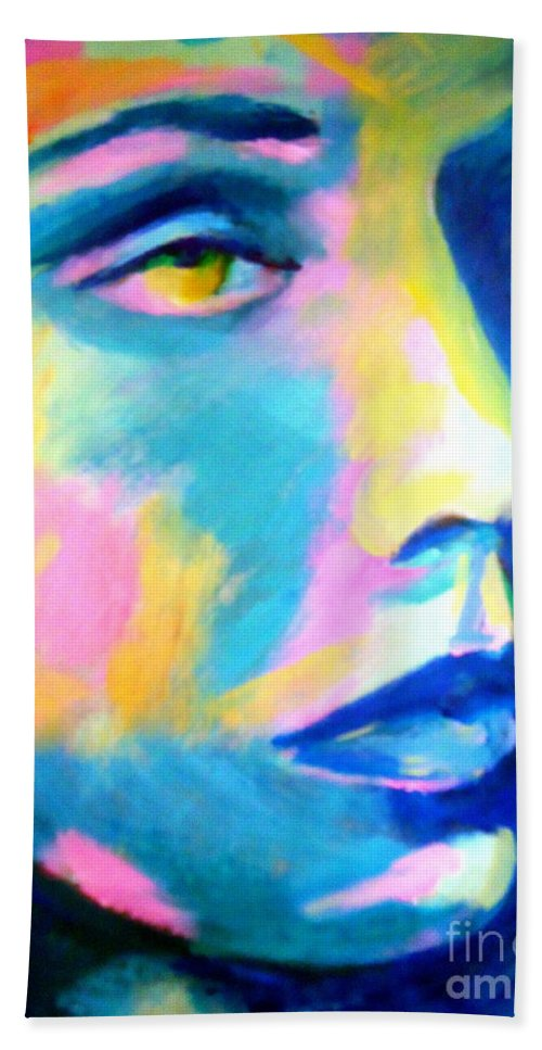 Contemporary Art Bath Sheet featuring the painting Transcend by Helena Wierzbicki