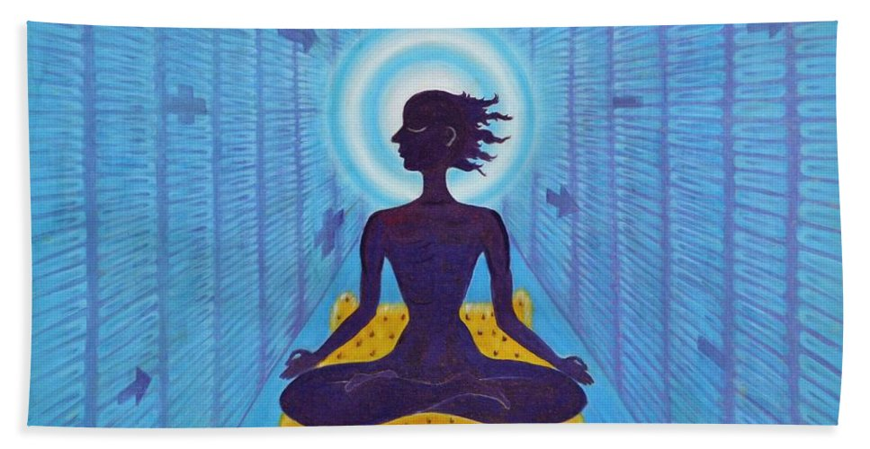 Transcendental Bath Sheet featuring the painting Transcendental Meditation by Usha Shantharam