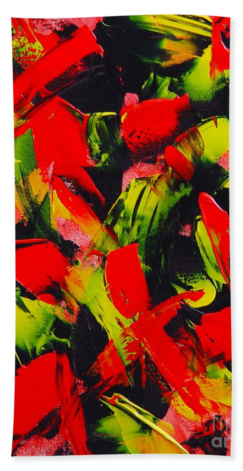 Abstract Hand Towel featuring the painting Transitions IIi by Dean Triolo