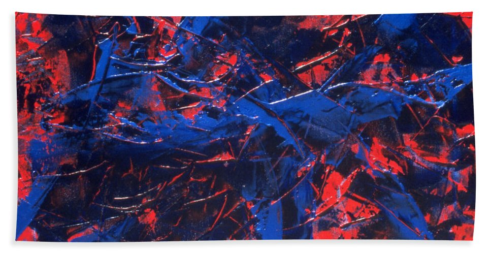 Abstract Hand Towel featuring the painting Transitions Iv by Dean Triolo