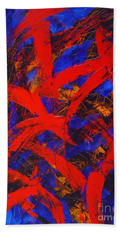 Abstract Bath Towel featuring the painting Transitions With Blue And Red by Dean Triolo