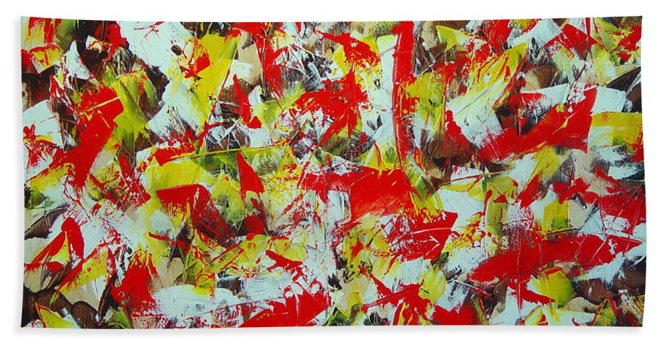Abstract Hand Towel featuring the painting Transitions With Yellow Brown And Red by Dean Triolo