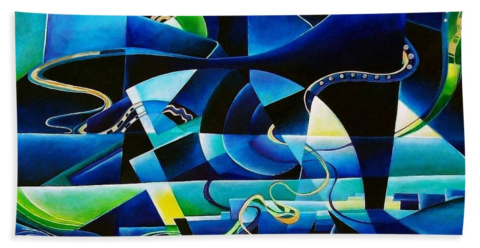 Lago Maggiore Lago Di Como Claudio Monteverdi Mass For Four Voices Kyrie Eleison Bath Towel featuring the painting Transitions by Wolfgang Schweizer