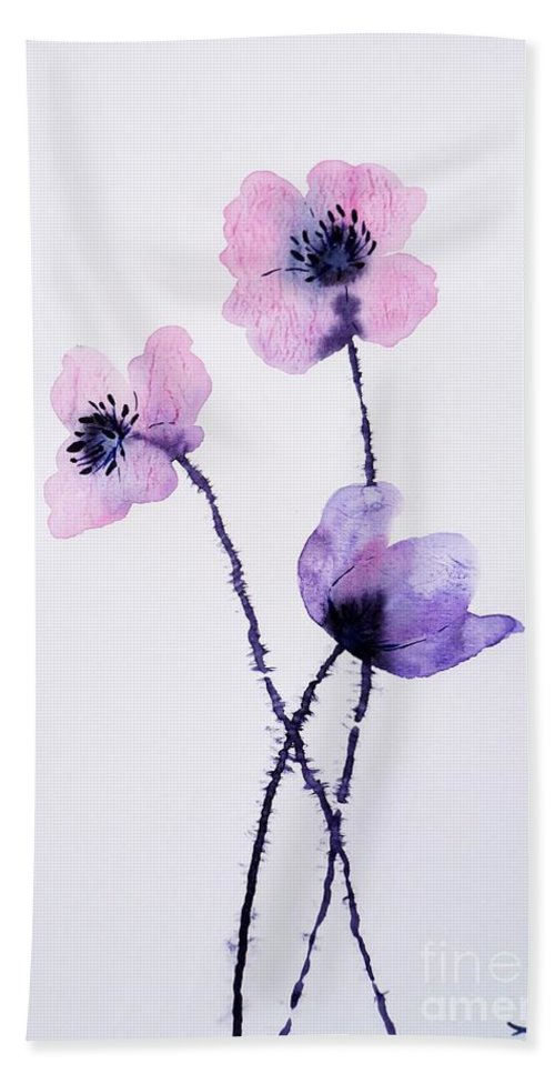 Translucent Poppies Bath Sheet featuring the painting Translucent Poppies by Zaira Dzhaubaeva