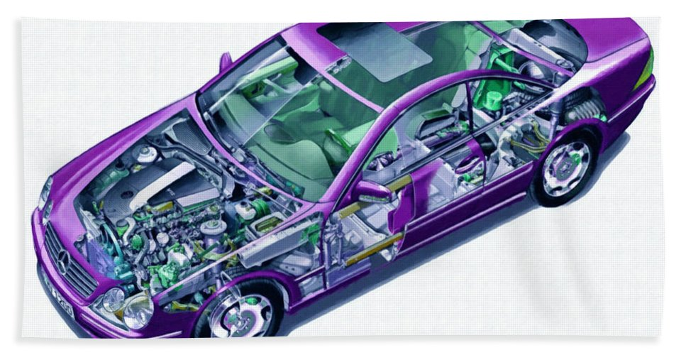 Car Bath Sheet featuring the painting Transparent Car Concept Made In 3d Graphics 8 by Jeelan Clark