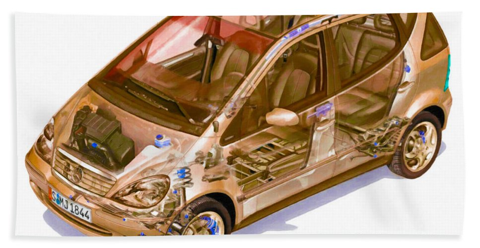 Car Bath Sheet featuring the painting Transparent Car Concept Made In 3d Graphics 9 by Jeelan Clark