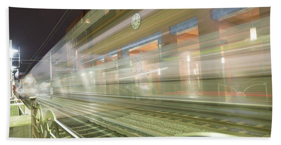 Pasadena Hand Towel featuring the photograph Transparent Trains by Mike Herdering