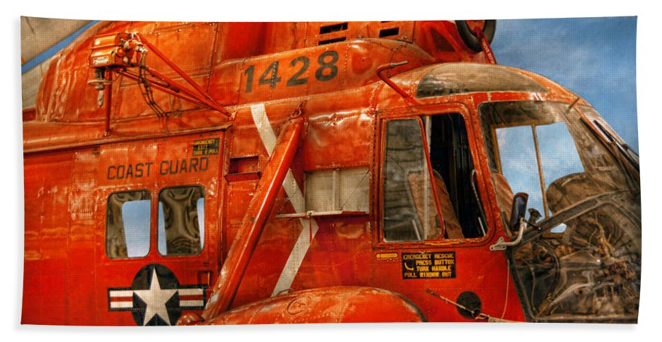 Savad Bath Sheet featuring the photograph Transportation - Helicopter - Coast Guard Helicopter by Mike Savad