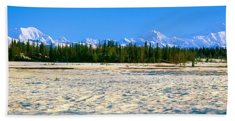 Photography Bath Sheet featuring the photograph Trapper Creek And Mount Mckinley, Alaska by Panoramic Images