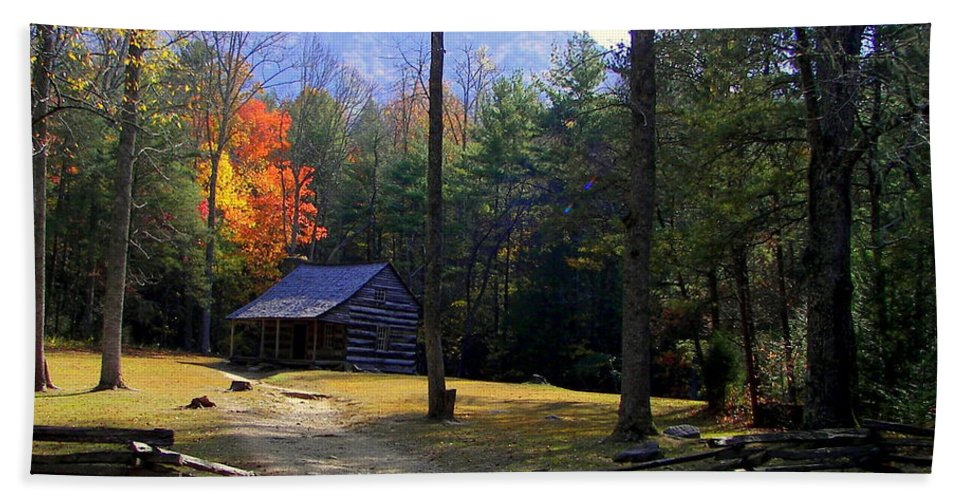 Cabins Hand Towel featuring the photograph Traveling Back In Time by Karen Wiles