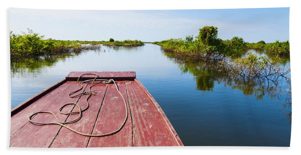 Boat Bath Sheet featuring the photograph Traveling Through Tonle Sap Lake by Alexey Stiop