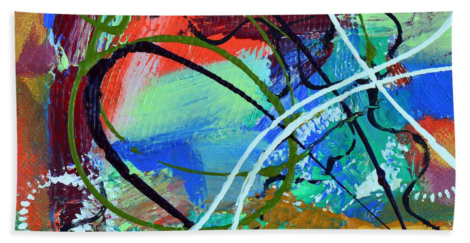 Bold Abstract Bath Sheet featuring the mixed media Traveling With The Gypsies by Donna Blackhall