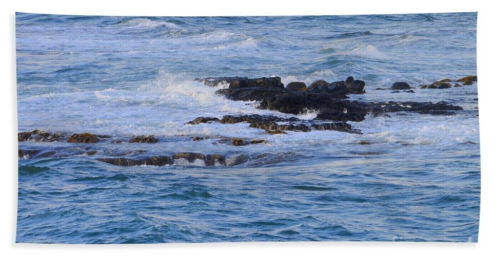 Ocean Hand Towel featuring the photograph Treacherous Shorebreak by Mary Deal